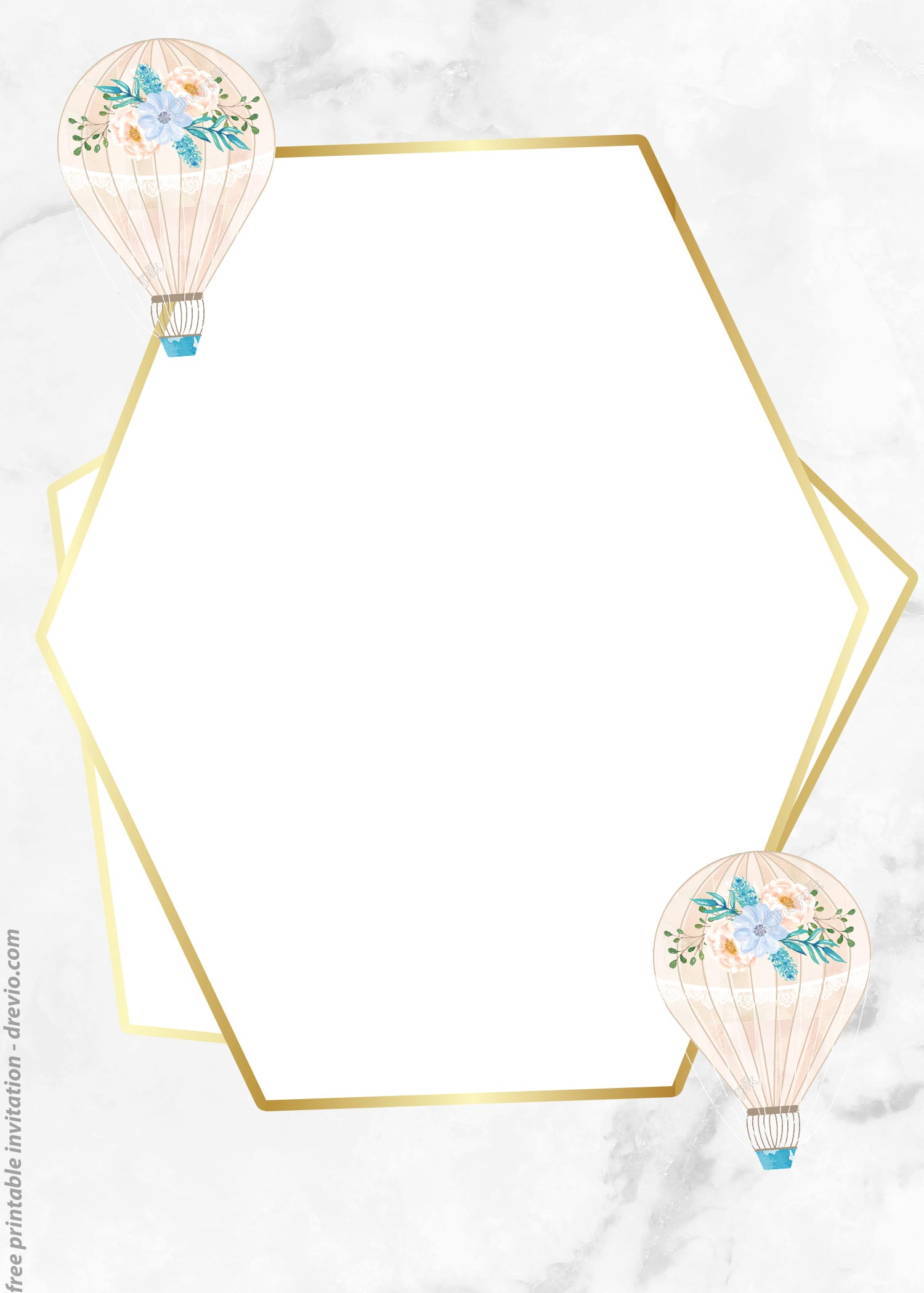 graphic about Oh the Places You'll Go Balloon Printable Template named Cost-free Watercolor Very hot Air Balloon Classic Invitation Templates