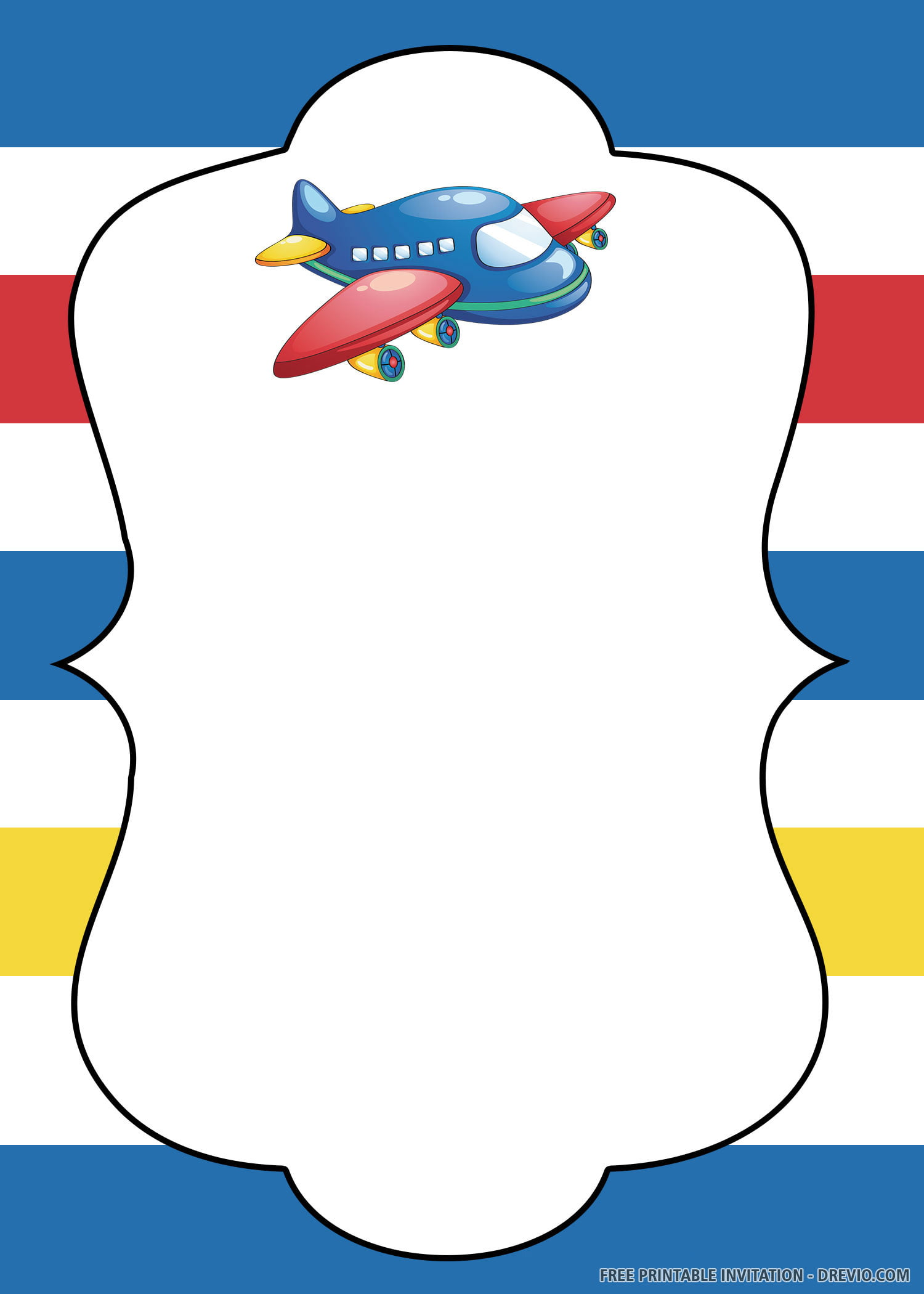 Free Printable Up, Up, and Away Airplane Birthday Invitation