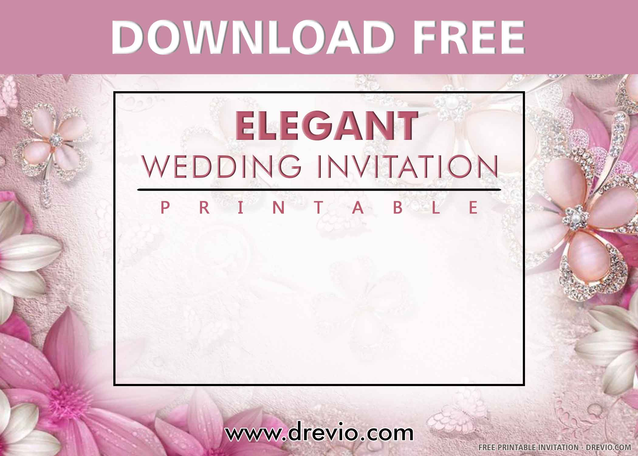 Free Printable Elegant Floral Wedding Invitation Templates Drevio