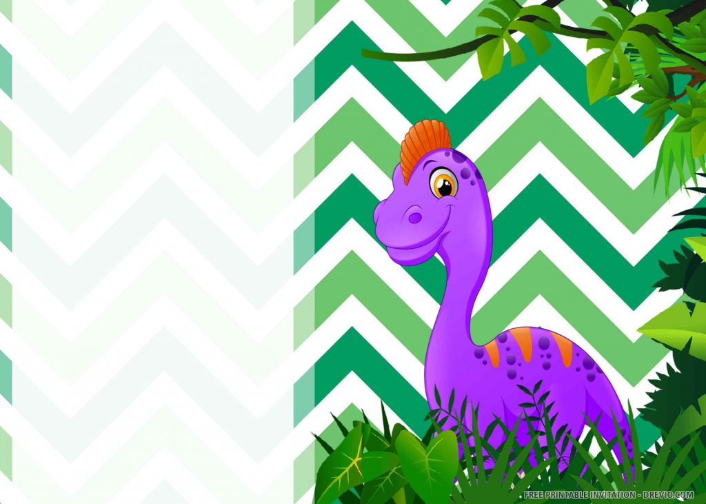 FREE DINOSAUR PARTY Invitation with purple Parasaurolophus
