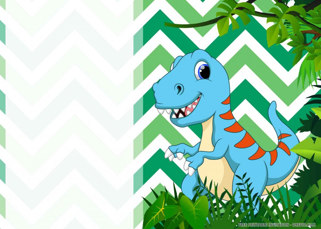 FREE DINOSAUR PARTY Invitation with blue Tyrannosaurus