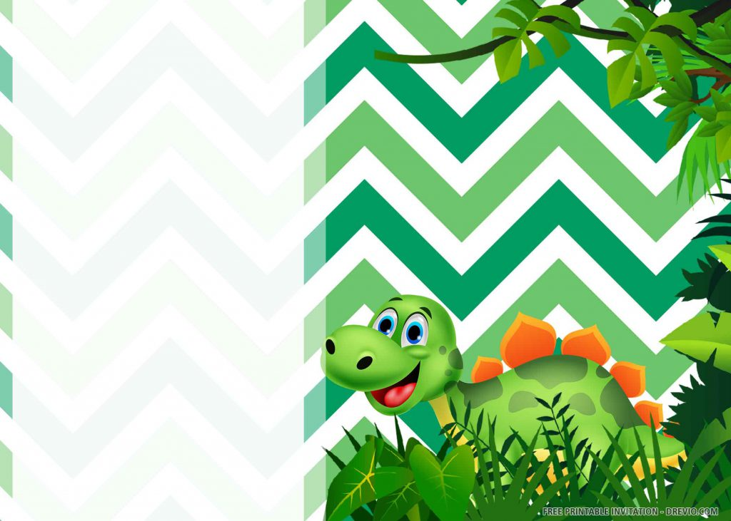 FREE DINOSAUR PARTY Invitation with green Apatosaurus