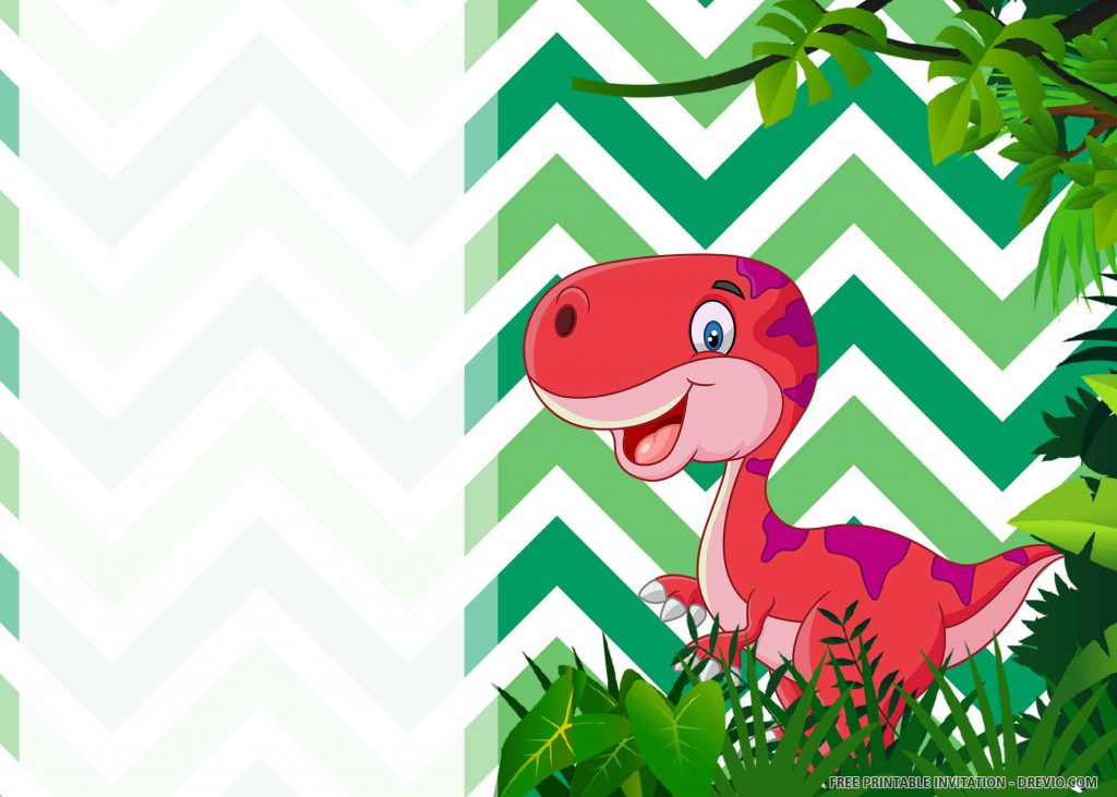 FREE DINOSAUR PARTY Invitation with red Apatosaurus