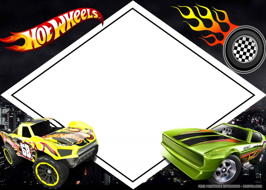 FREE HOT WHEELS Invitation with yellow and green cars