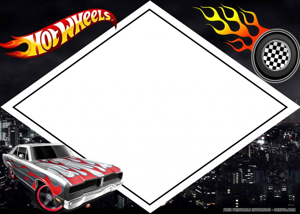 FREE HOT WHEELS Invitation with grey and red car