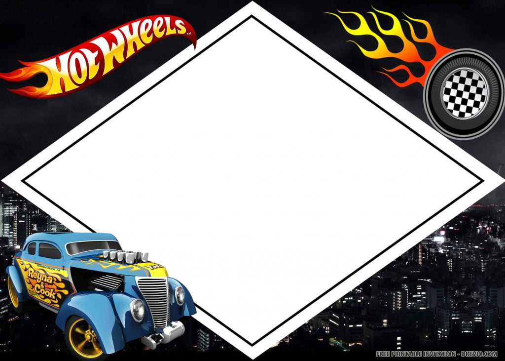 FREE HOT WHEELS Invitation with blue car