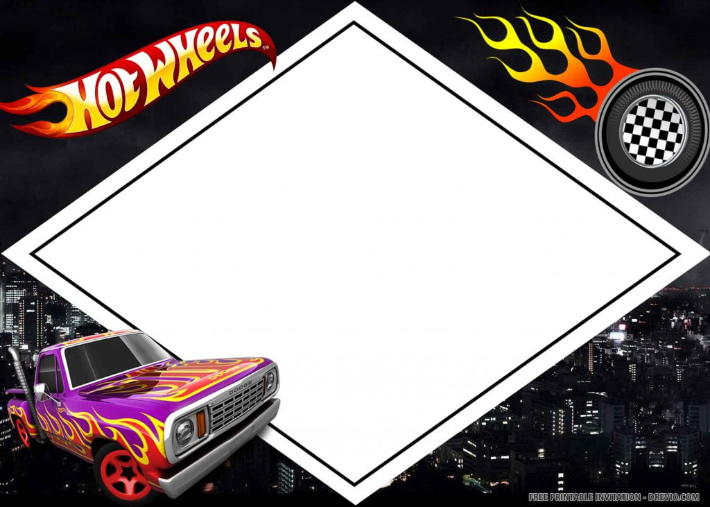 FREE HOT WHEELS Invitation with purple car