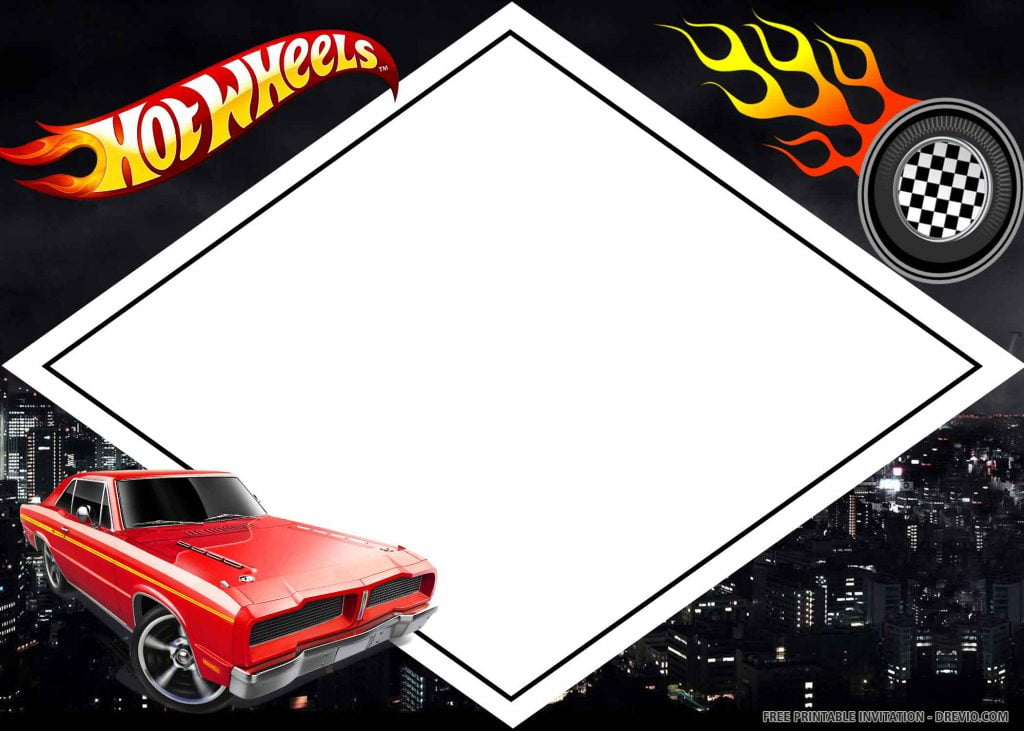 FREE HOT WHEELS Invitation with red car