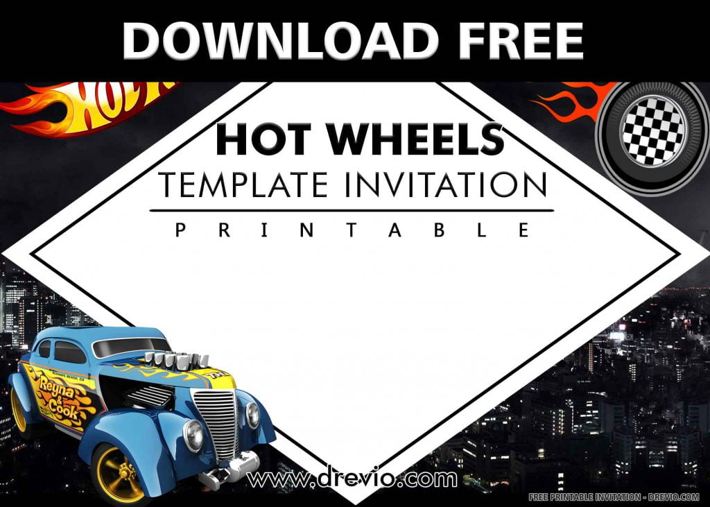 FREE HOT WHEELS Invitation with title