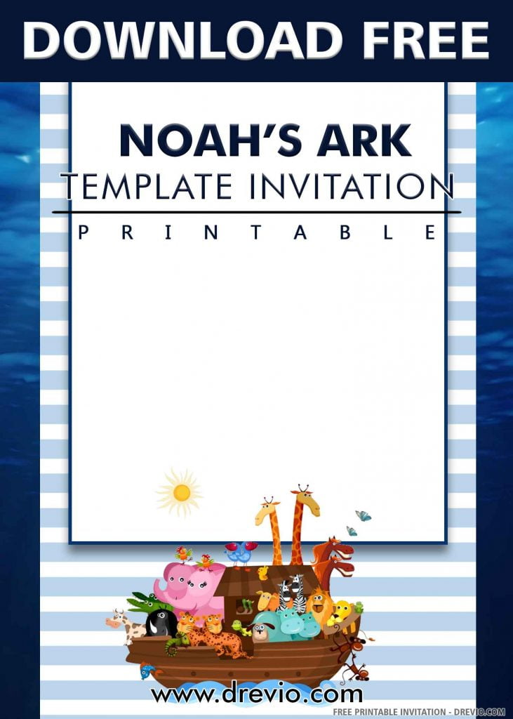 FREE NOAH'S ARK Invitation with title