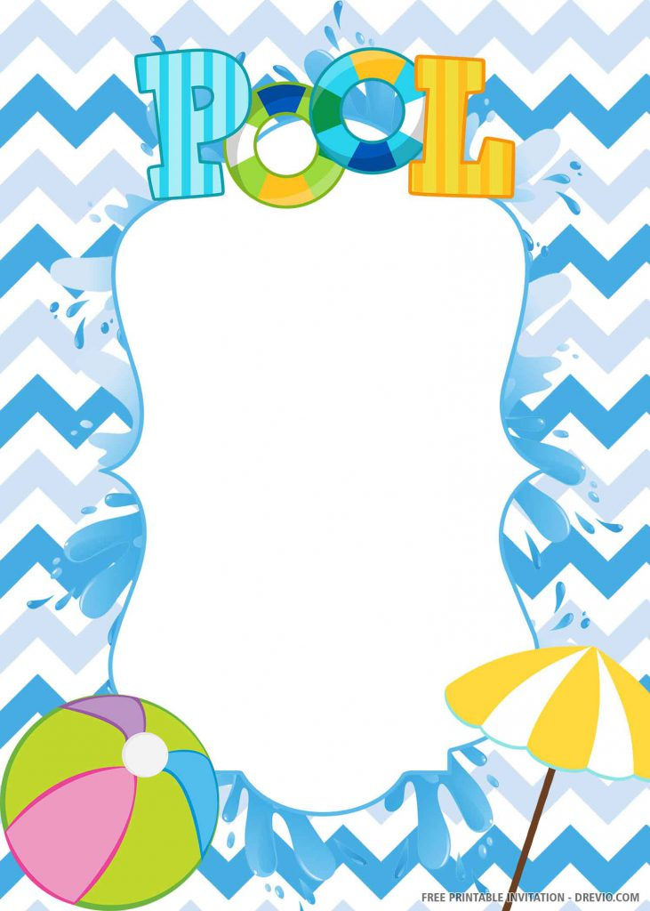 FREE POOL PARTY Invitation with blue background, ball, umbrella, wording POOL