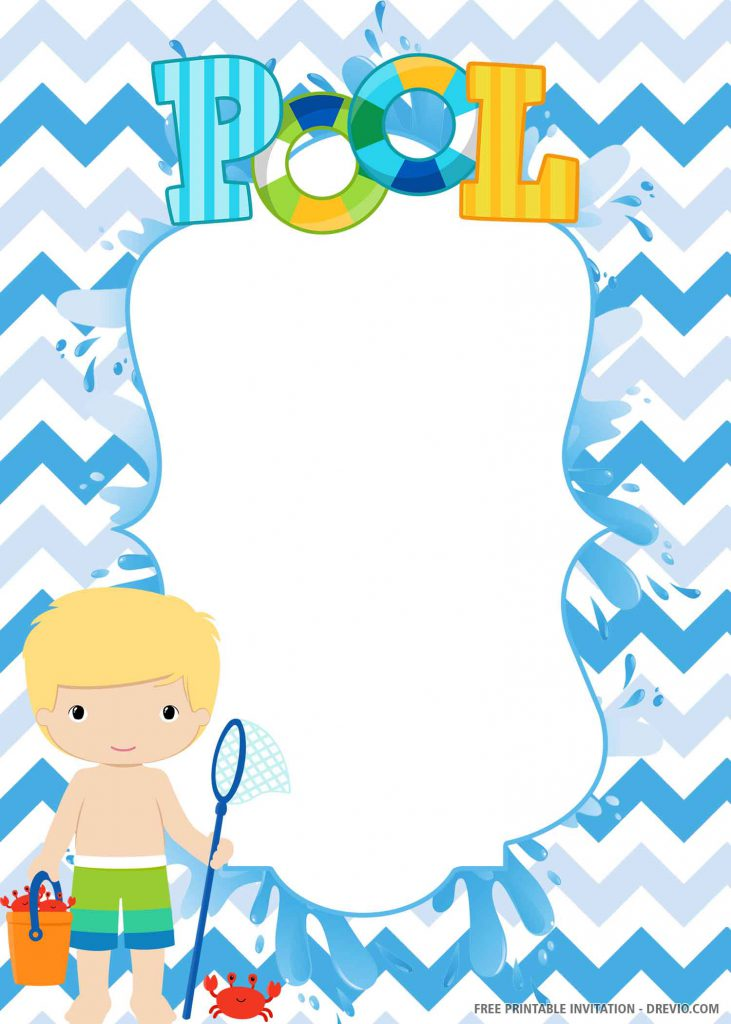 FREE POOL PARTY Invitation with blue background, a boy, container, crabs, net, wording POOL