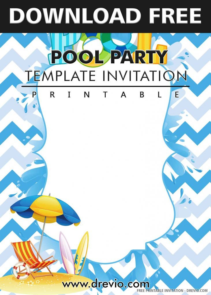 FREE POOL PARTY Invitation with title