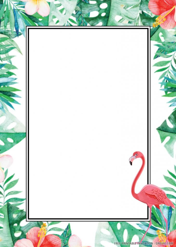 FREE TROPICAL FLAMINGO Invitation with green leaves, flamingo