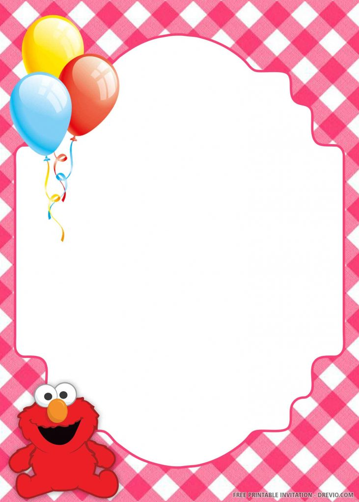 FREE ELMO sitting in the left side, balloons
