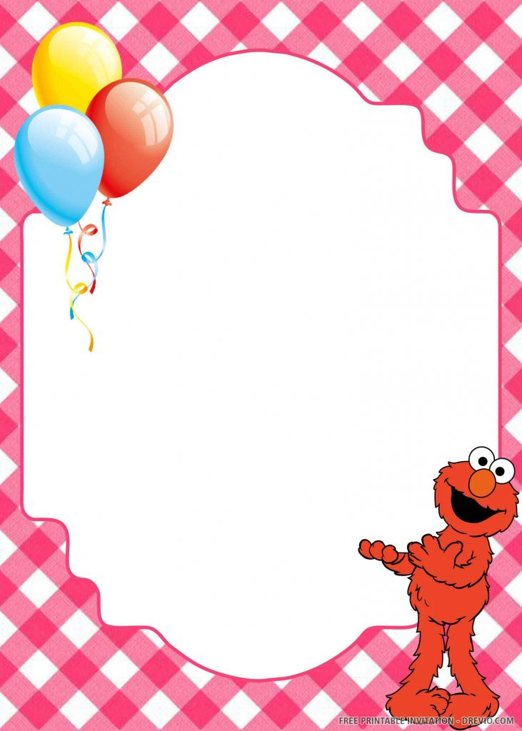 FREE ELMO standing in the right side, balloons