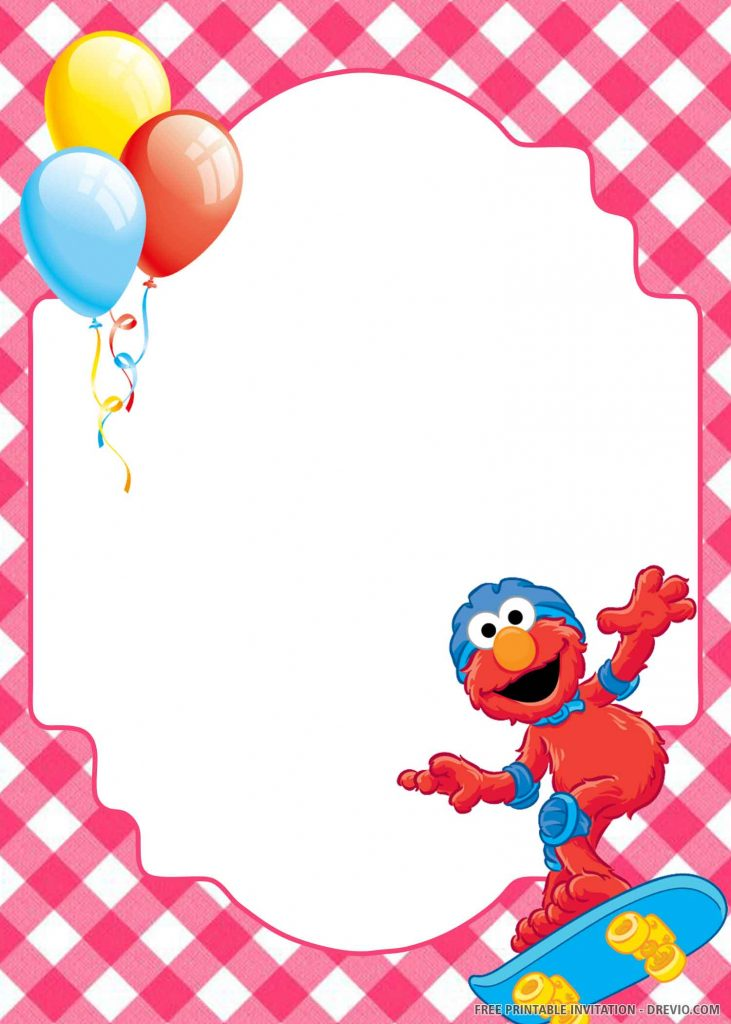 FREE ELMO with helmet and skate board, balloons