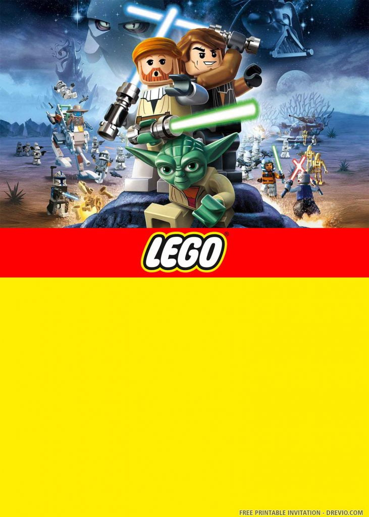 FREE LEGO STAR WARS Invitation with Yoda, Qui-Gon Jin, Padawan