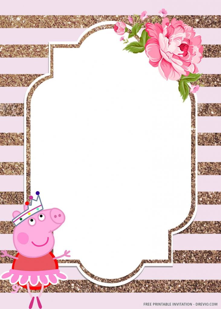 FREE PEPPA PIG Invitation with Peppa, skirt, tiara