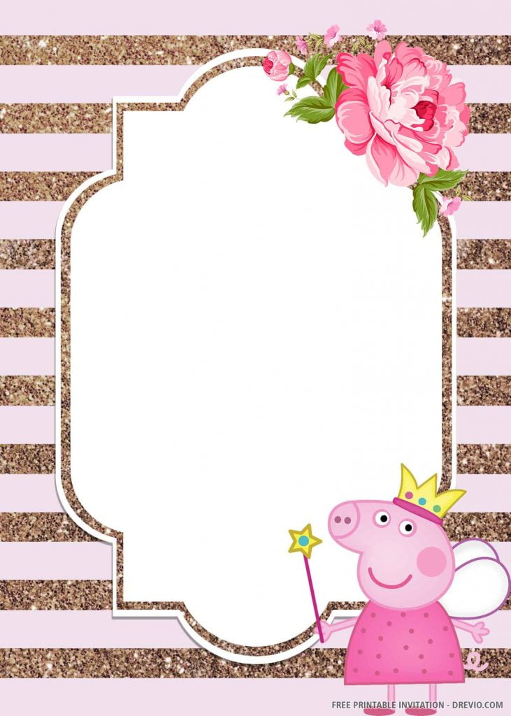 FREE PEPPA PIG Invitation with fairy Peppa, right side