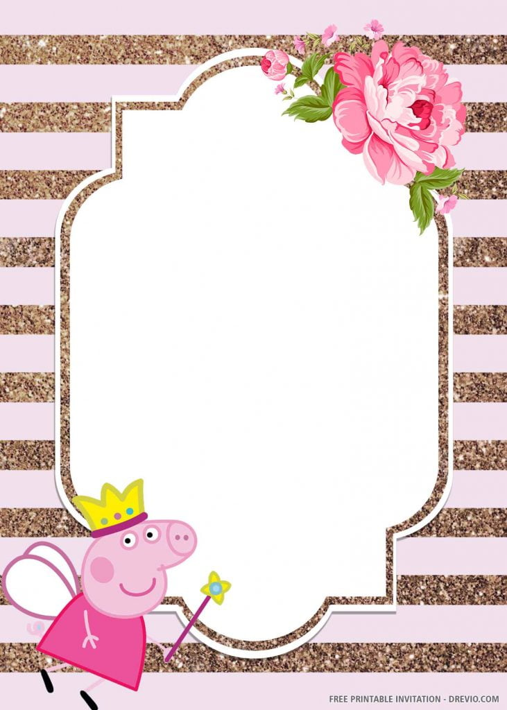 FREE PEPPA PIG Invitation with fairy Peppa, left side