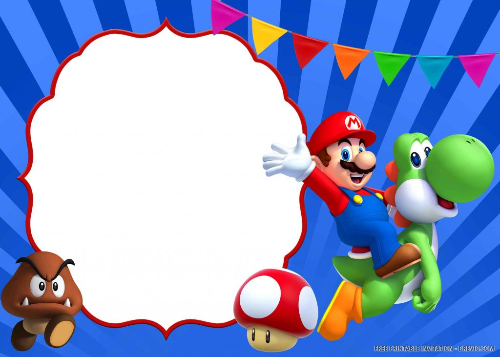 FREE SUPER MARIO Invitation with Mario, Paragoomba, Toad, Yoshi