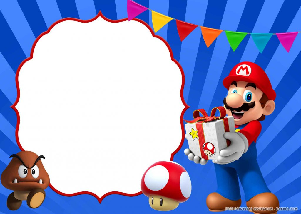 FREE SUPER MARIO Invitation with Mario, Paragoomba, Toad, gift