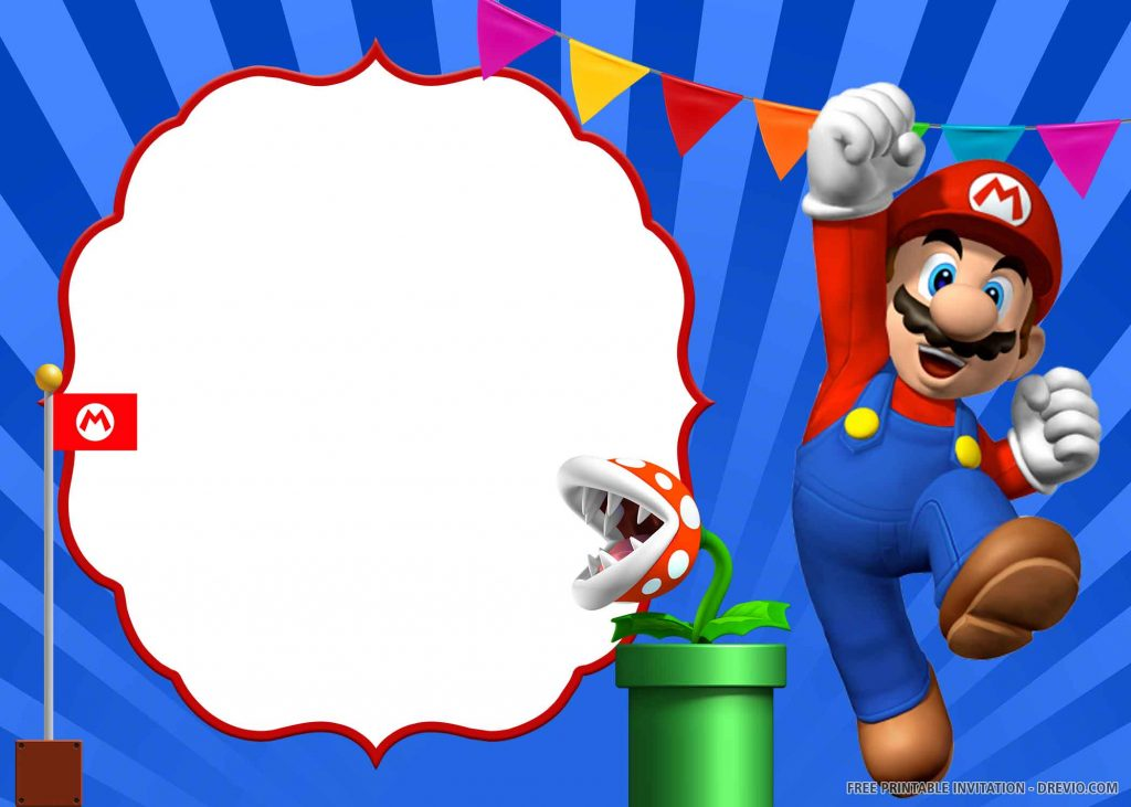 FREE SUPER MARIO Invitation with Mario, red flag, Petey Piranha