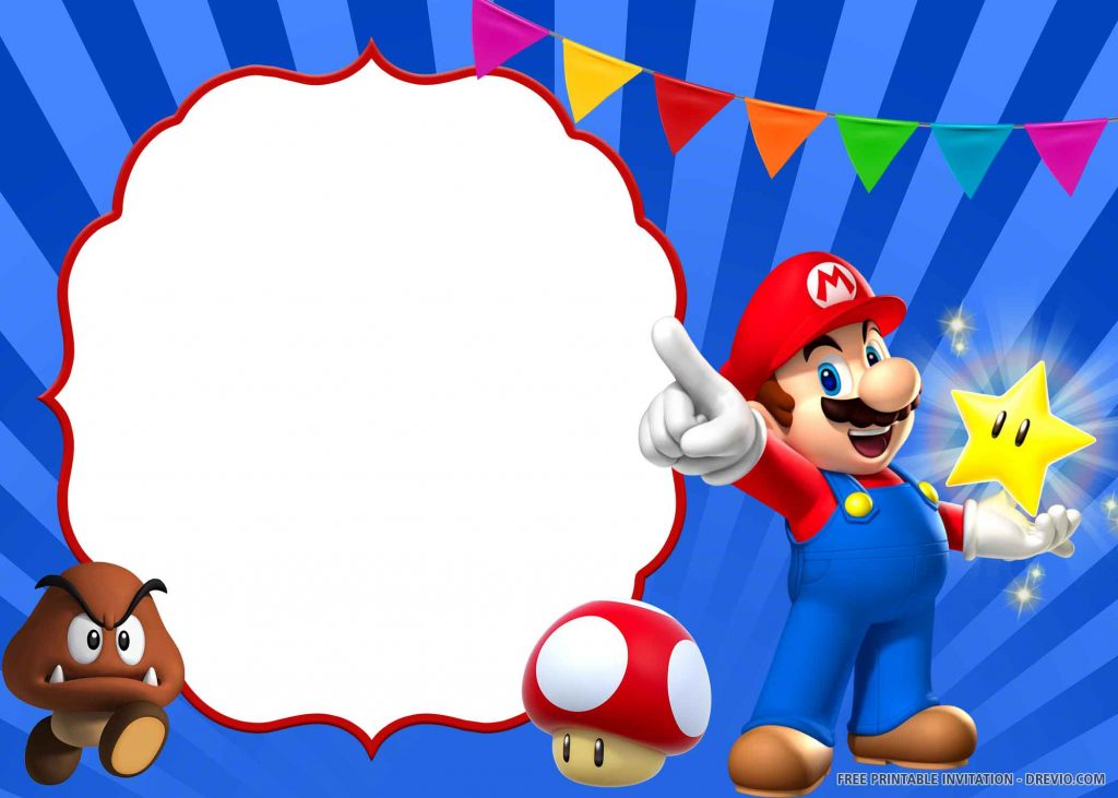 FREE SUPER MARIO Invitation with Mario, Paragoomba, Toad, yellow star