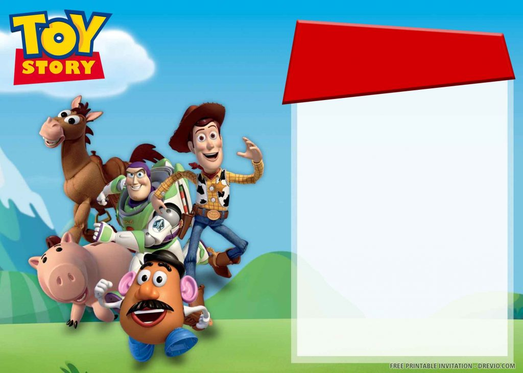FREE TOY STORY Invitation with Woody, Buzz, Mr. Potato, Bullseye, Hamm