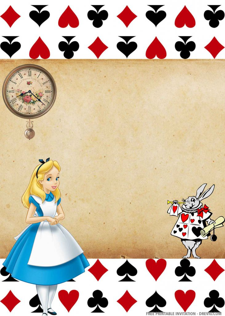 FREE ALICE Invitation with Alice on the left side, AS guards, a clock