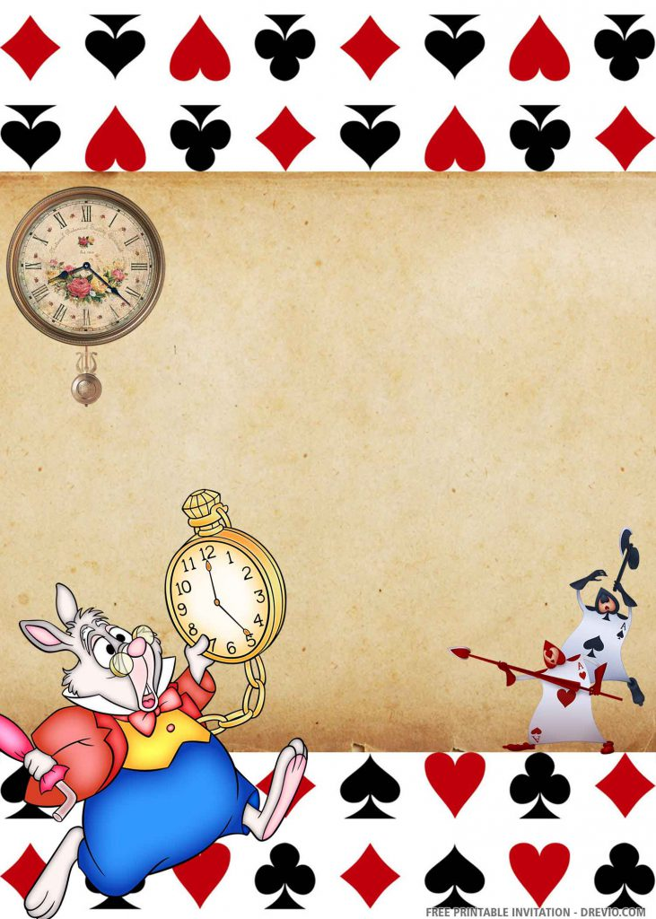 FREE ALICE Invitation with rabbit, AS guards, two clocks