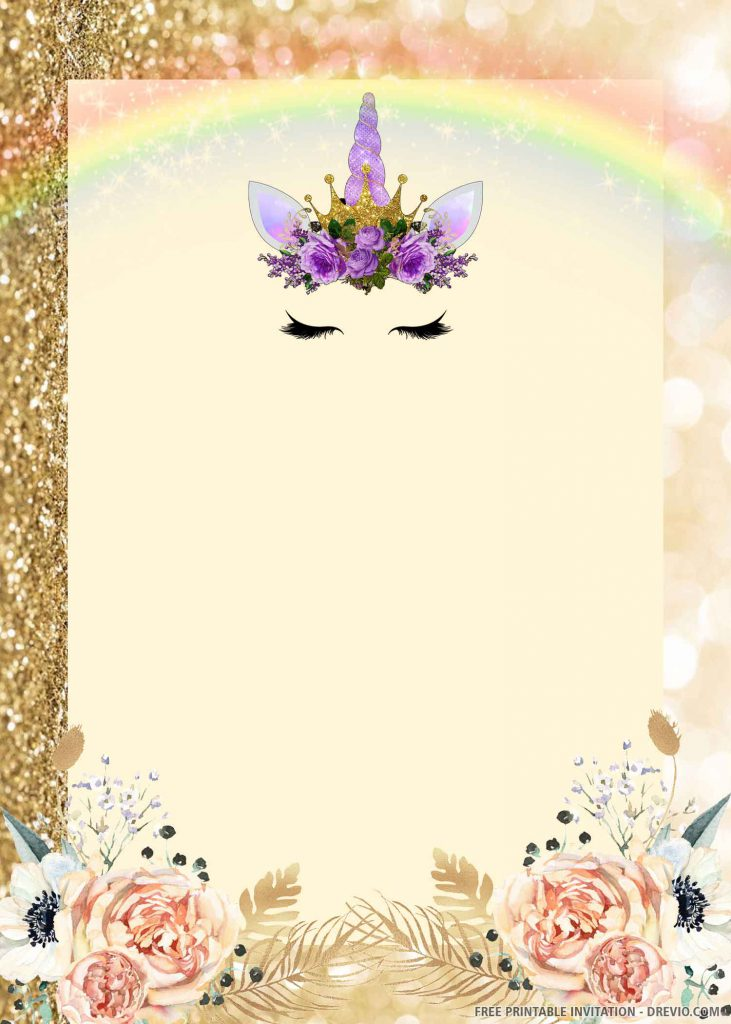 FREE UNICORN Invitation with purple unicorn