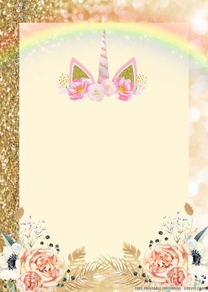 FREE UNICORN Invitation with soft purple unicorn
