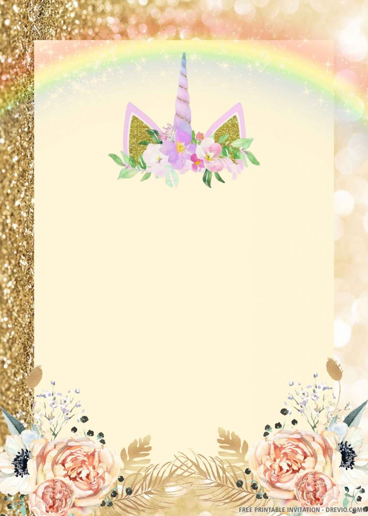 FREE UNICORN Invitation with pink unicorn