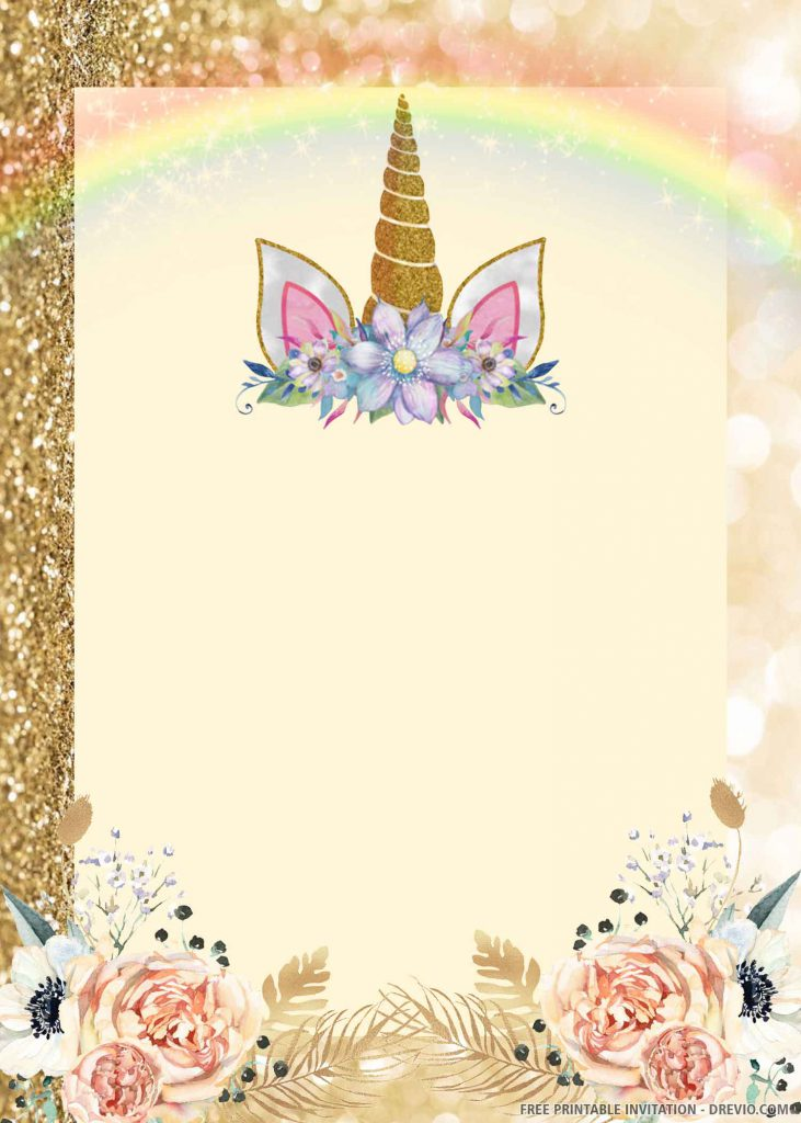 FREE UNICORN Invitation with gold unicorn
