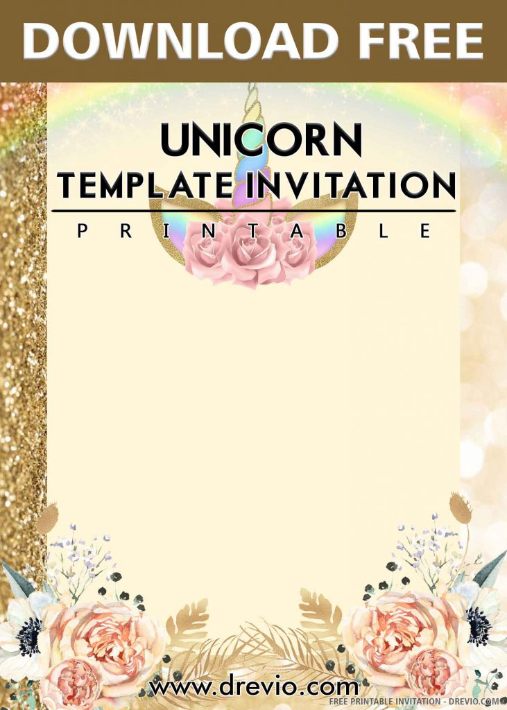FREE UNICORN Invitation with title