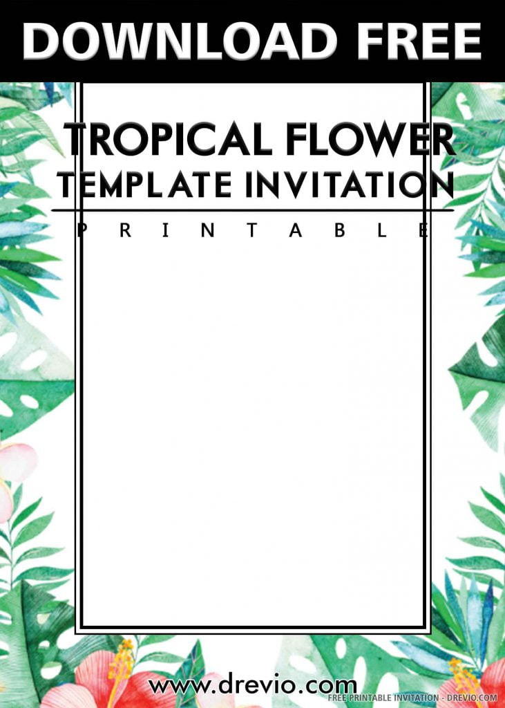 FREE TROPICAL FLAMINGO Invitation with title