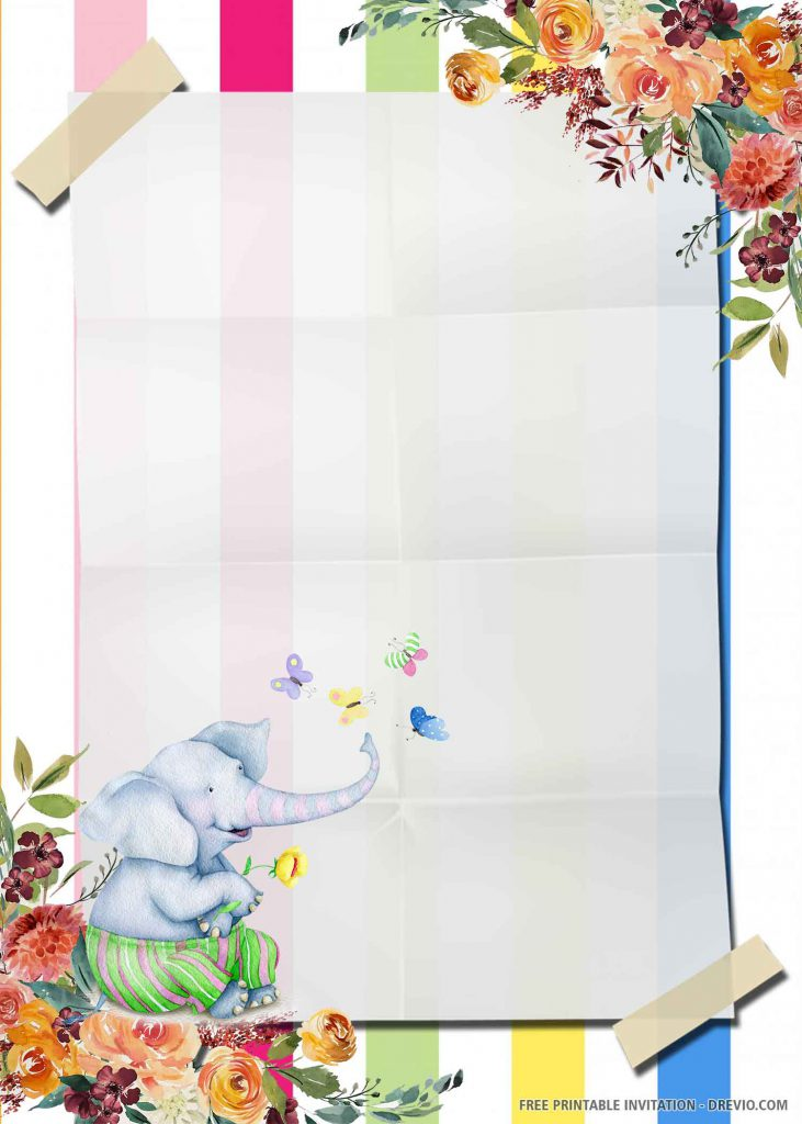 FREE ELEPHANT Invitation with a blue elephant, four butterflies
