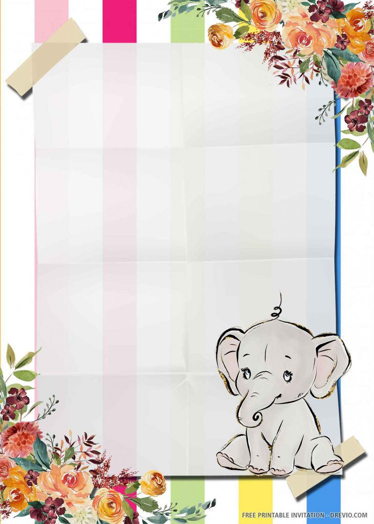 FREE ELEPHANT Invitation with a white elephant