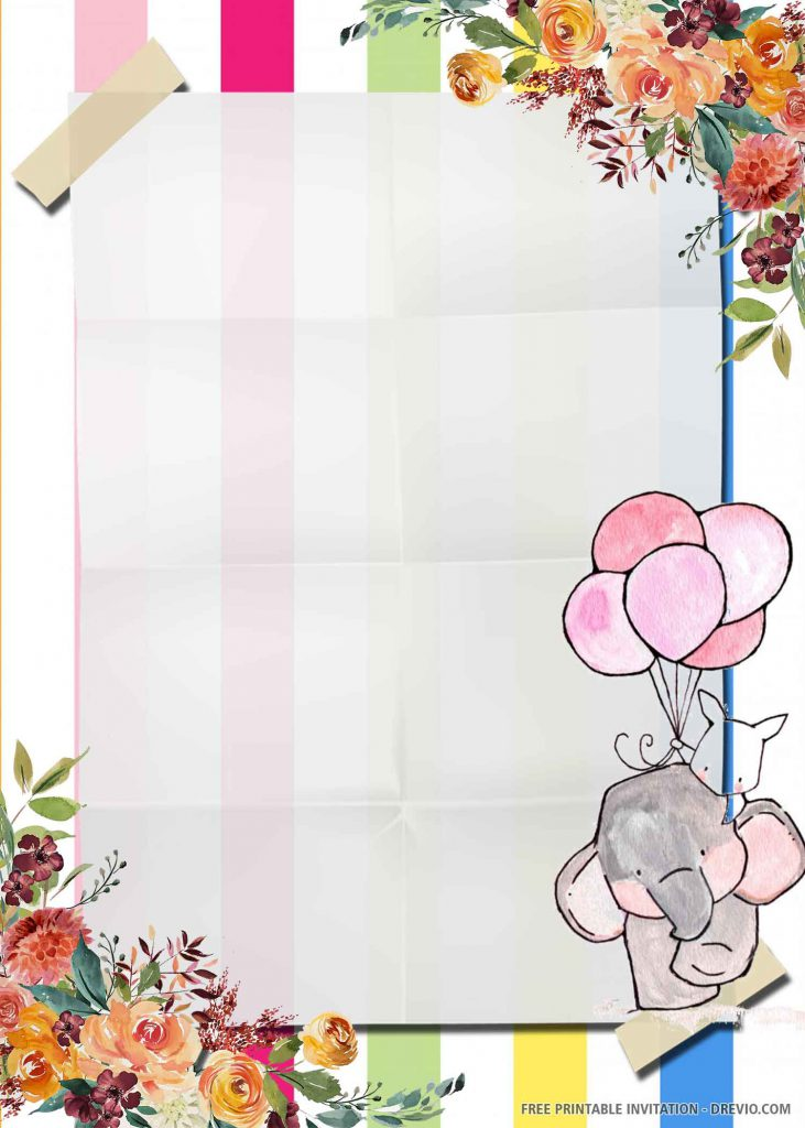 FREE ELEPHANT Invitation with a pink elephant, a cat, five balloons