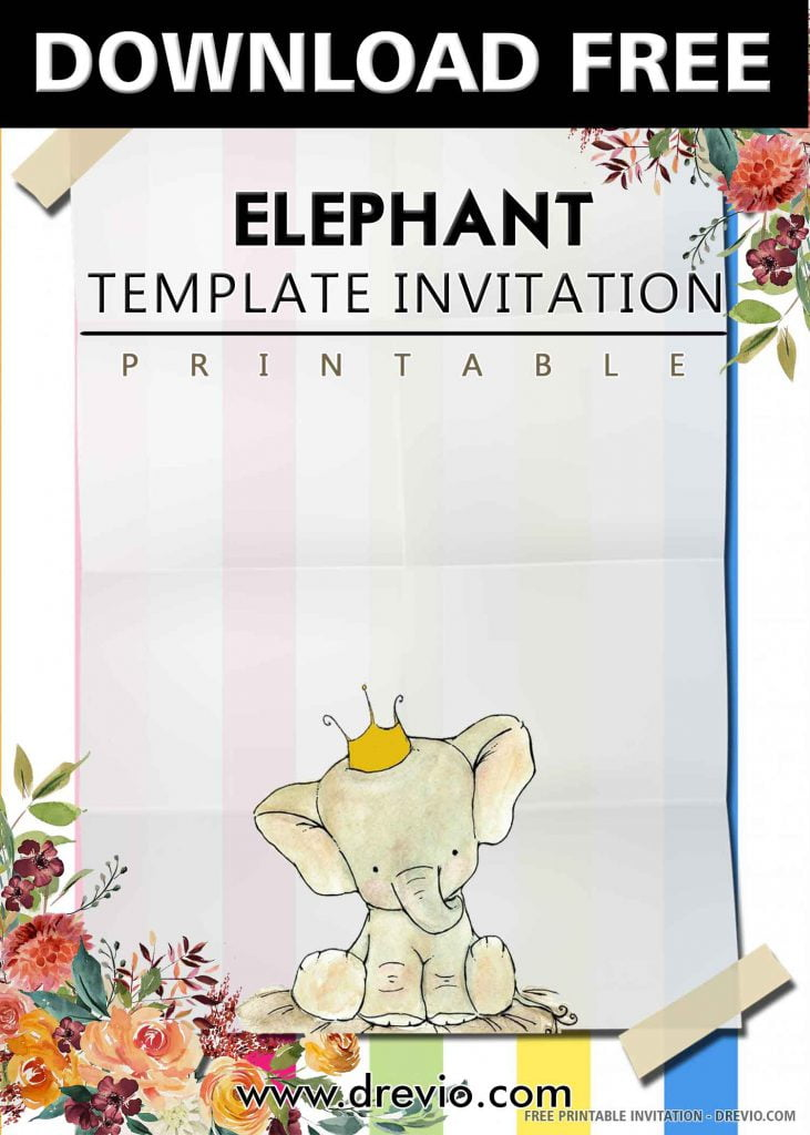 FREE ELEPHANT Invitation with title
