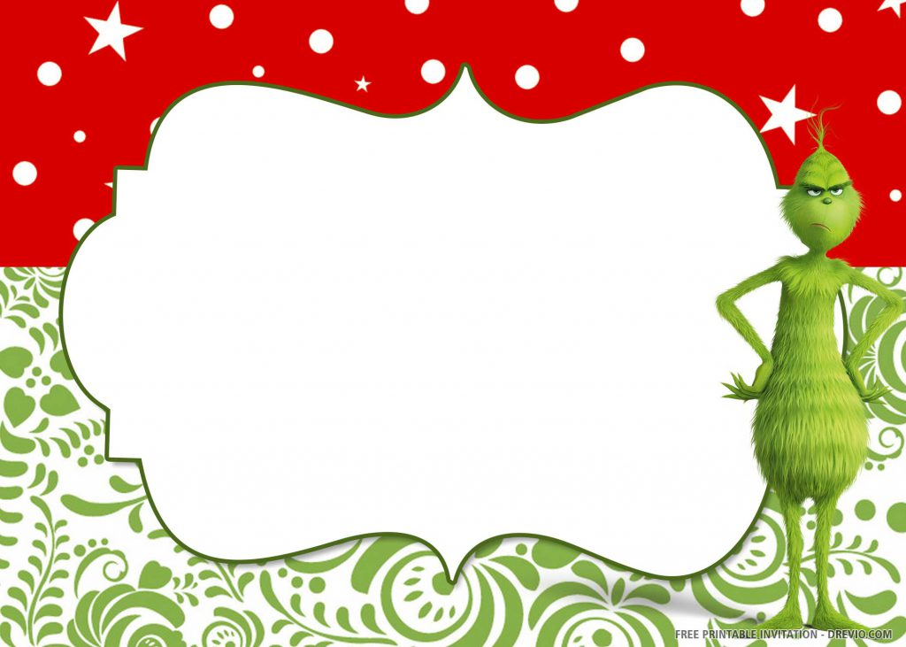 FREE GRINCH Invitation with Grinch on right side