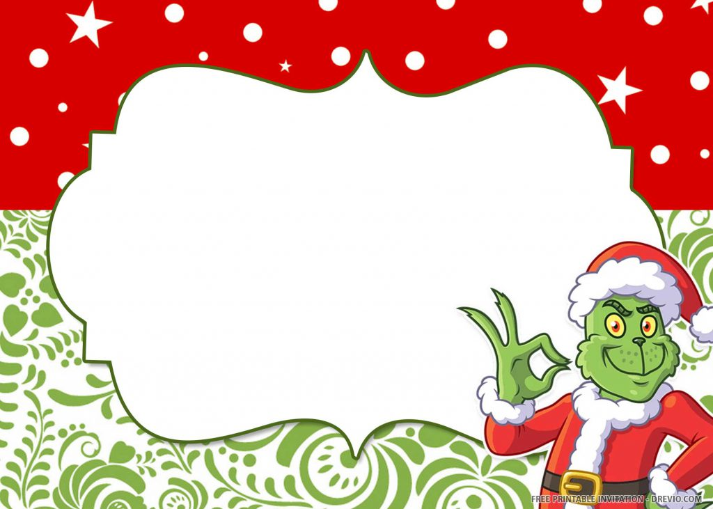FREE GRINCH Invitation with Grinch in Santa's costume