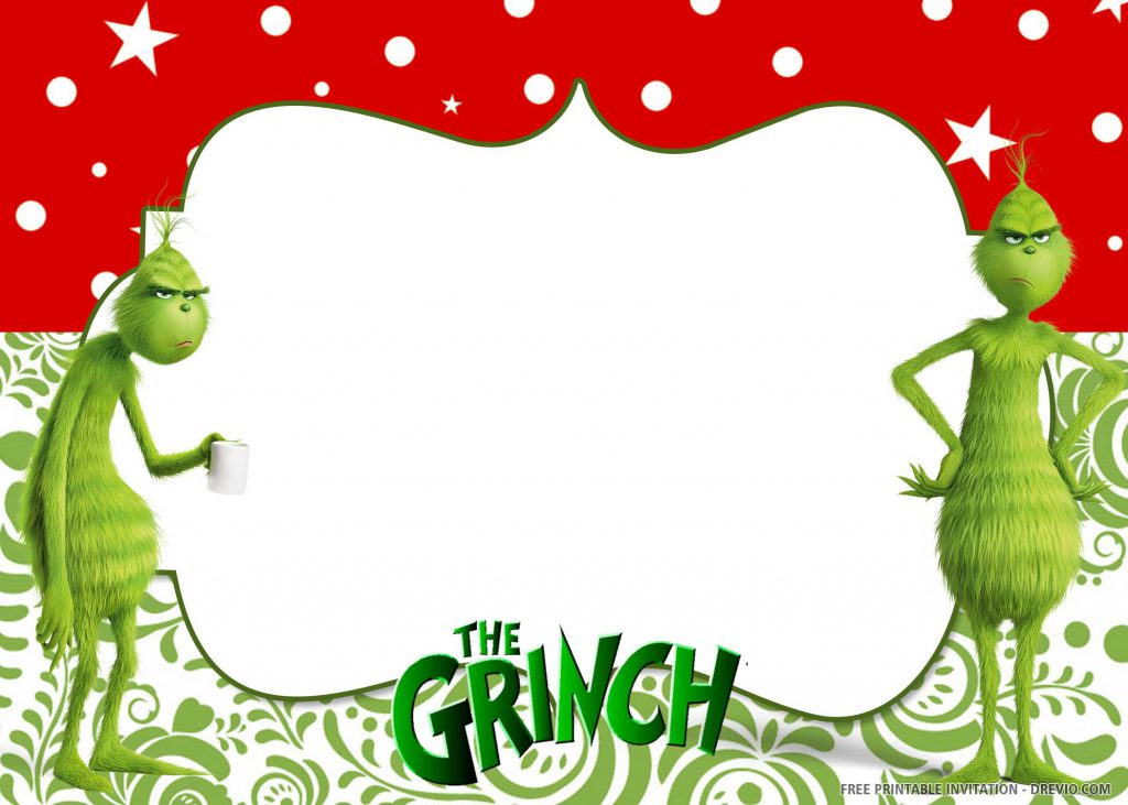 "FREE GRINCH Invitation with two pictures of Grinch, wording ""The Grinch"""