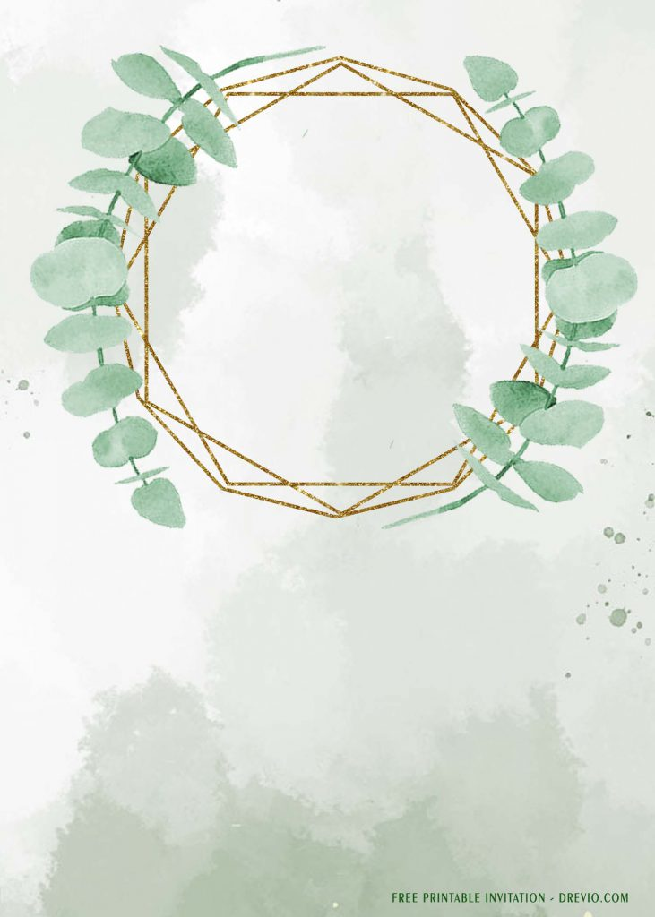 Free Printable Eucalyptus Wreath Wedding Invitation Templates With Stunning Background