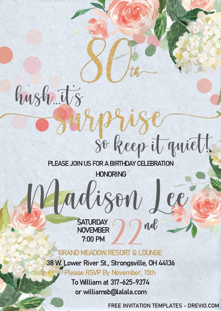 Floral 80th Birthday Invitation Templates - Editable With MS Word and decorated with Canvas background