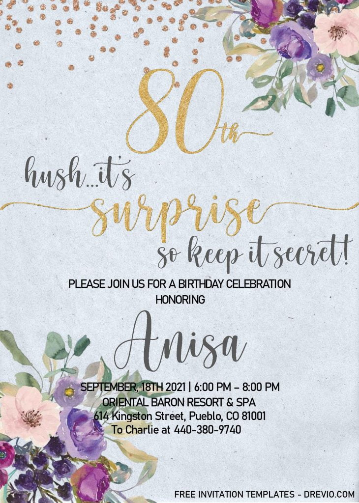 Floral 80th Birthday Invitation Templates - Editable With MS Word and decorated with Gold Glitter