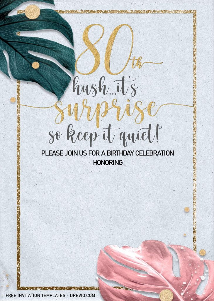 Floral 80th Birthday Invitation Templates - Editable With MS Word and decorated with Gold Text Frame
