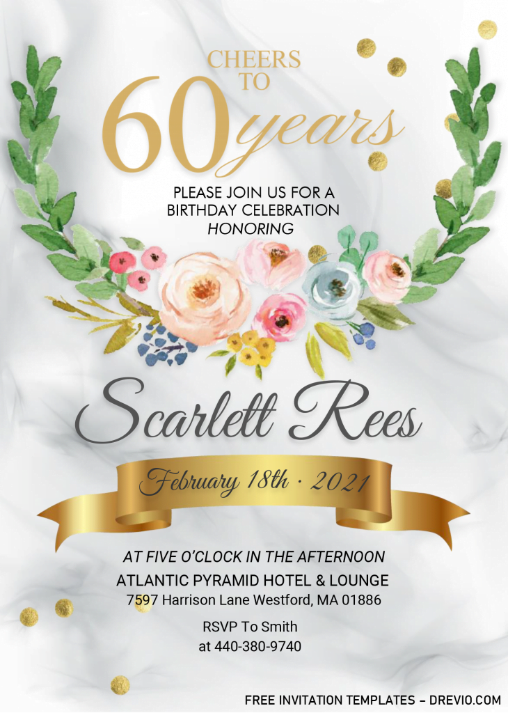 Floral 60th Birthday Invitation Templates - Editable With MS Word
